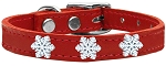 Snowflake Widget Genuine Leather Dog Collar Red 26